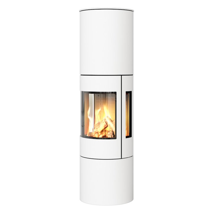 Rais Viva 160L Balanced Flue Gas Stove White Metal Framed Door Side Glass Windows - White