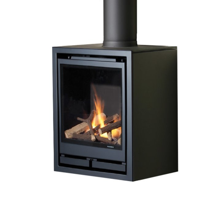 Wanders Square 40G Wall Mounted Balanced Flue Gas Stove - Black