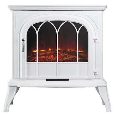 Ekofires 1250 Electric Stove White Tracery Glass Door