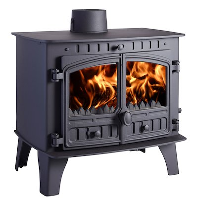 Hunter Herald 14 Multifuel Boiler Stove Black Double Doors