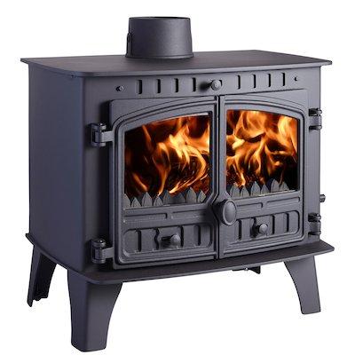 Hunter Herald 14 Multifuel Boiler Stove Black Double Doors