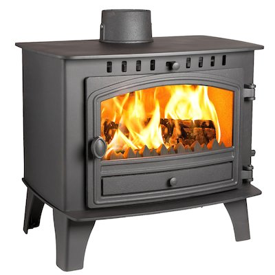 Hunter Herald 14 Multifuel Boiler Stove Black Single Door