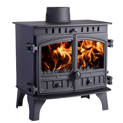 Hunter Herald 8 Multifuel Boiler Stove Black Double Doors