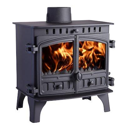 Hunter Herald 8 Multifuel Boiler Stove Black Double Doors