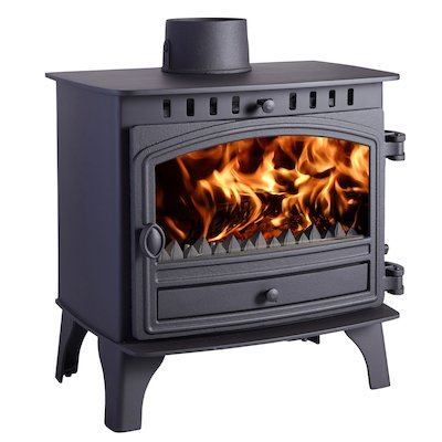Hunter Herald 8 Multifuel Boiler Stove Black Single Door