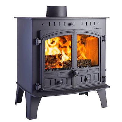 Hunter Herald 80B Multifuel Boiler Stove Black Double Doors