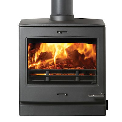Yeoman CL8HB Multifuel Boiler Stove Black Top Flue Outlet