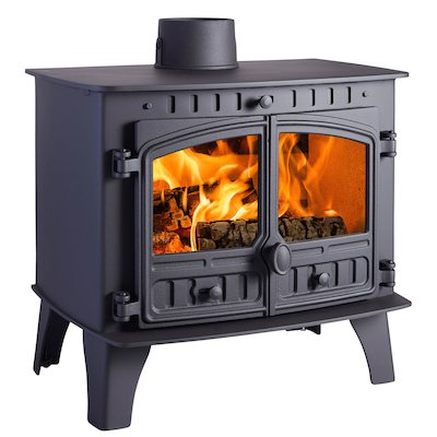 Hunter Herald 14 Wood Boiler Stove Black Double Doors