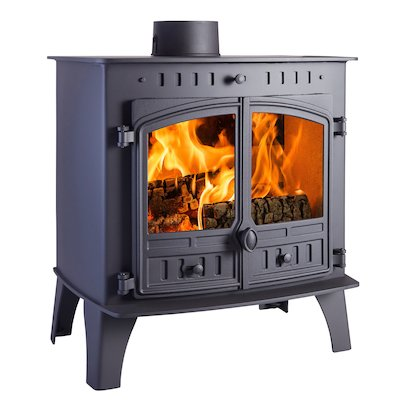 Hunter Herald 80b Wood Boiler Stove Black Double Doors
