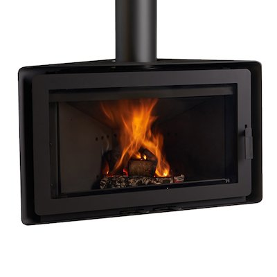 Rocal Angle Wall Mounted Wood Stove Black Fixed