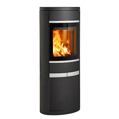 Scan 68 Cupboard Wood Stove Black Solid Sides Silver Trim