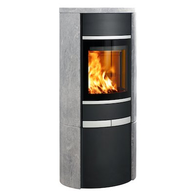 Scan 68 Cupboard Wood Stove Black/Soapstone Solid Sides Silver Trim