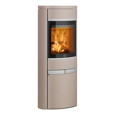 Scan 68 Cupboard Wood Stove Champagne Solid Sides Silver Trim