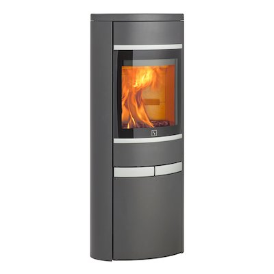 Scan 68 Cupboard Wood Stove Grey Solid Sides Silver Trim