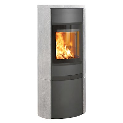 Scan 68 Cupboard Wood Stove Grey/Soapstone Solid Sides Black Trim