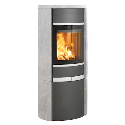 Scan 68 Cupboard Wood Stove Grey/Soapstone Solid Sides Silver Trim