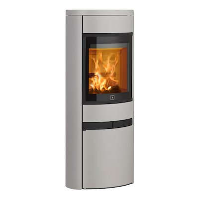 Scan 68 Cupboard Wood Stove Silver Solid Sides Black Trim