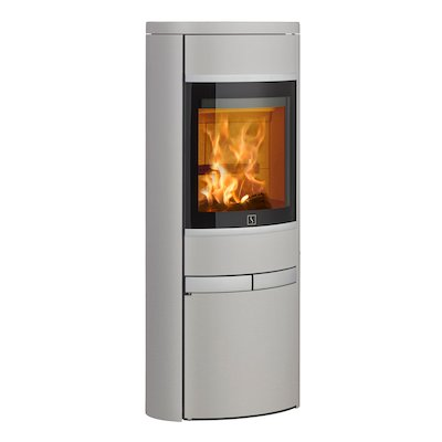 Scan 68 Cupboard Wood Stove Silver Solid Sides Silver Trim