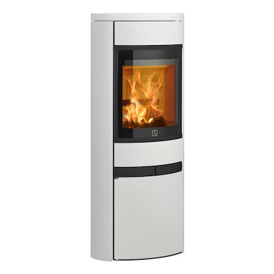 Scan 68 Cupboard Wood Stove White Solid Sides Black Trim