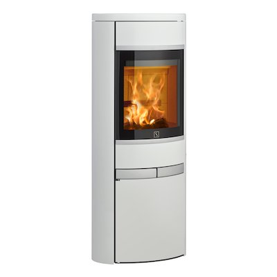 Scan 68 Cupboard Wood Stove White Solid Sides Silver Trim