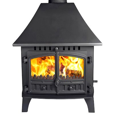 Hunter Herald 14 Double Sided HC Multifuel Stove - Double Depth Black Double Doors