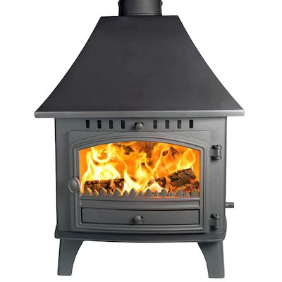 Hunter Herald 14 Double Sided HC Multifuel Stove - Double Depth Black Single Door