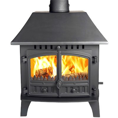Hunter Herald 14 Double Sided LC Multifuel Stove - Double Depth Black Double Doors