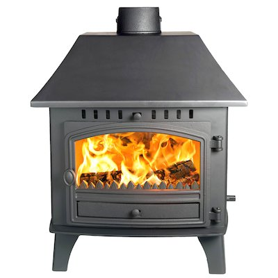 Hunter Herald 14 Double Sided LC Wood Stove - Double Depth Black Single Door