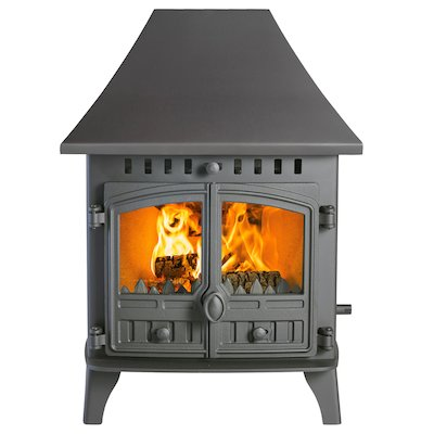 Hunter Herald 6 Double Sided HC Multifuel Stove - Double Depth Black Double Doors