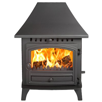 Hunter Herald 6 Double Sided HC Multifuel Stove - Double Depth Black Single Door