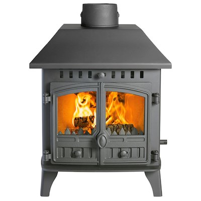 Hunter Herald 6 Double Sided LC Wood Stove - Double Depth Black Double Doors