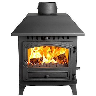 Hunter Herald 6 Double Sided LC Wood Stove - Double Depth Black Single Door