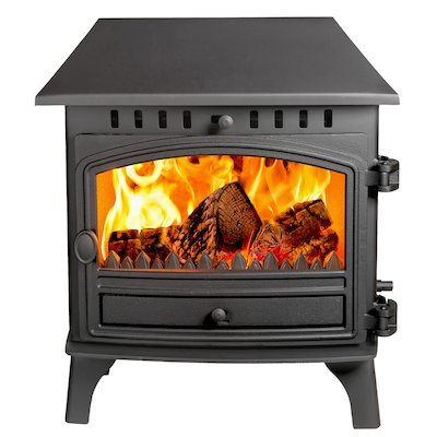 Hunter Herald 8 Double Sided LC Multifuel Stove - Double Depth Black Single Door
