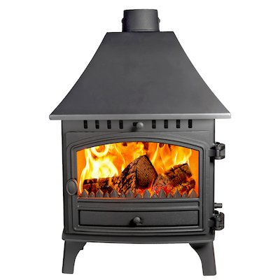 Hunter Herald 8 Double Sided HC Wood Stove - Double Depth Black Single Door