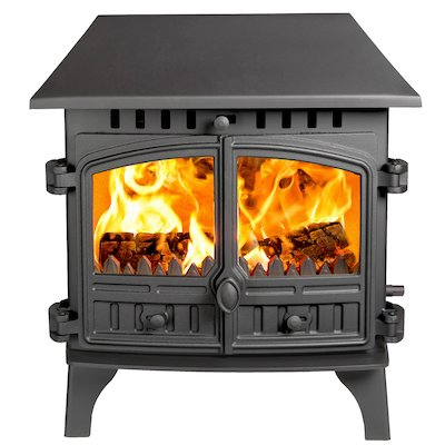 Hunter Herald 8 Double Sided LC Wood Stove - Double Depth Black Double Doors