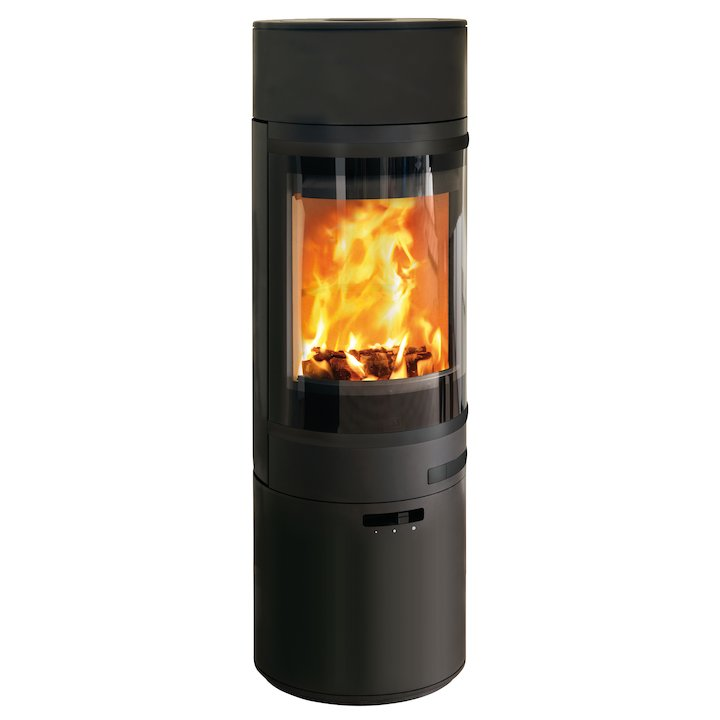Scan 85 Maxi LH Wood Stove Black Black Trim - Black