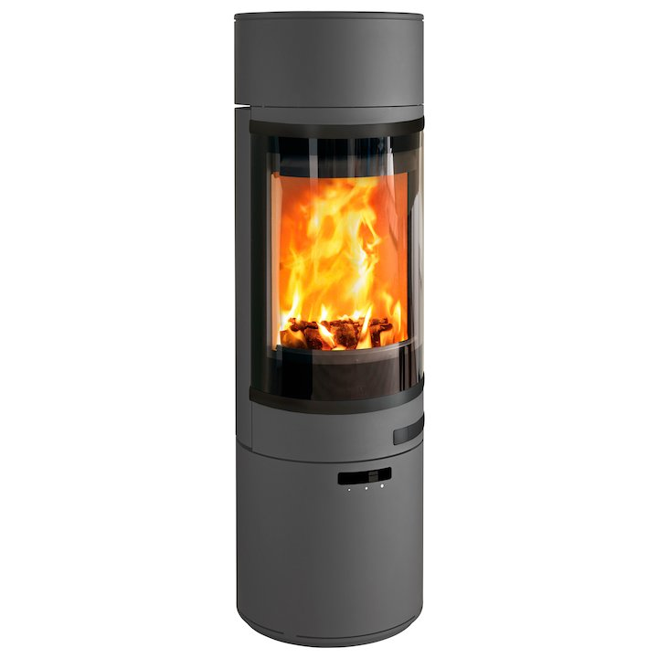 Scan 85 Maxi LH Wood Stove Grey Black Trim - Grey