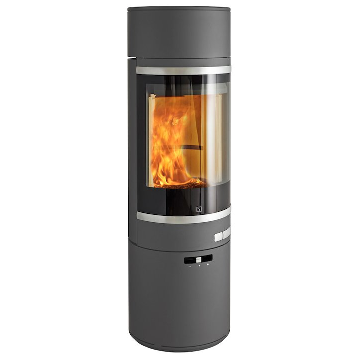 Scan 85 Maxi LH Wood Stove Grey Silver Trim - Grey