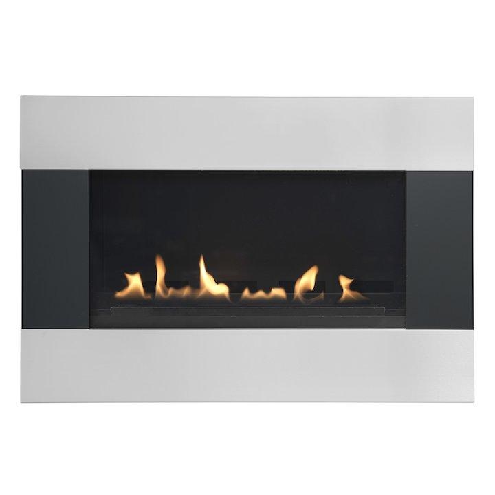Burley Latitude Flueless Wall Mounted Gas Fire Black/Silver LPG - Black / Silver