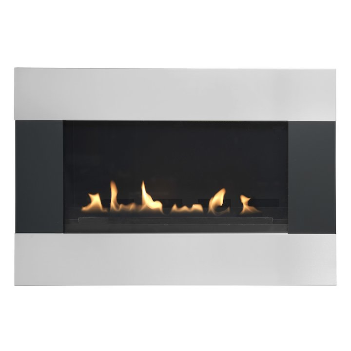 Burley Latitude Flueless Wall Mounted Gas Fire Black/Silver Natural Gas - Black / Silver