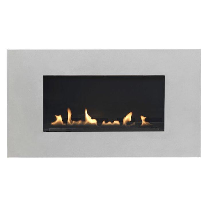 Burley Latitude Flueless Wall Mounted Gas Fire Silver Natural Gas - Silver