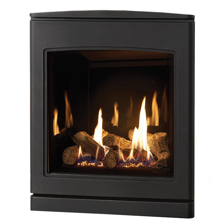 Yeoman CL 530 Conventional Flue Inset Gas Fire Anthracite Black Glass Lining - Anthracite