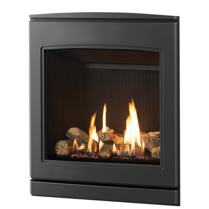 Yeoman CL 530 Conventional Flue Inset Gas Fire Anthracite Black Reeded Vermiculite Lining - Anthracite