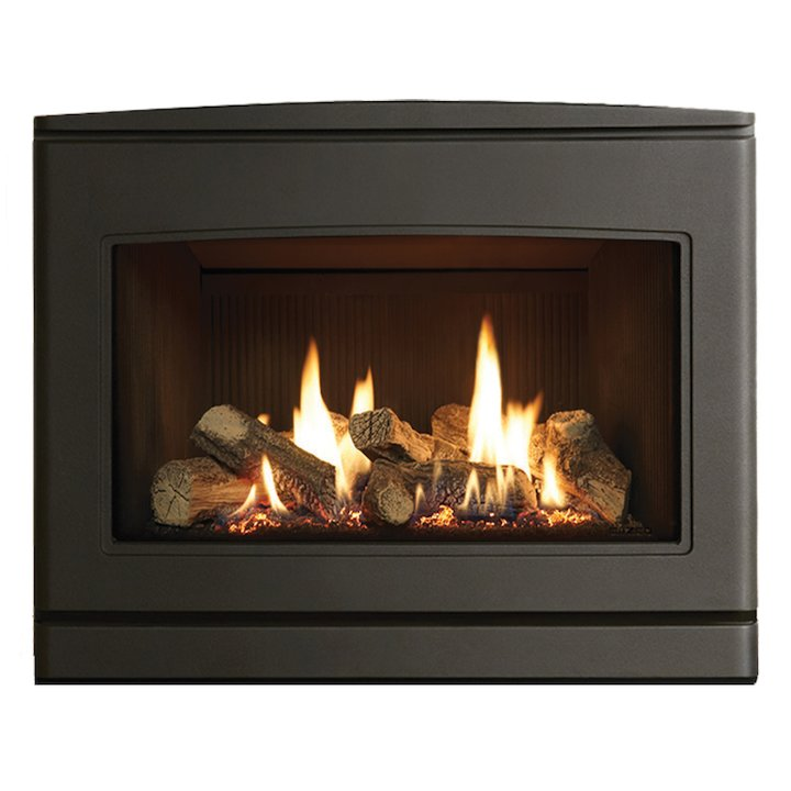Yeoman CL 670 Conventional Flue Inset Gas Fire Anthracite Black Reeded Vermiculite Lining - Anthracite