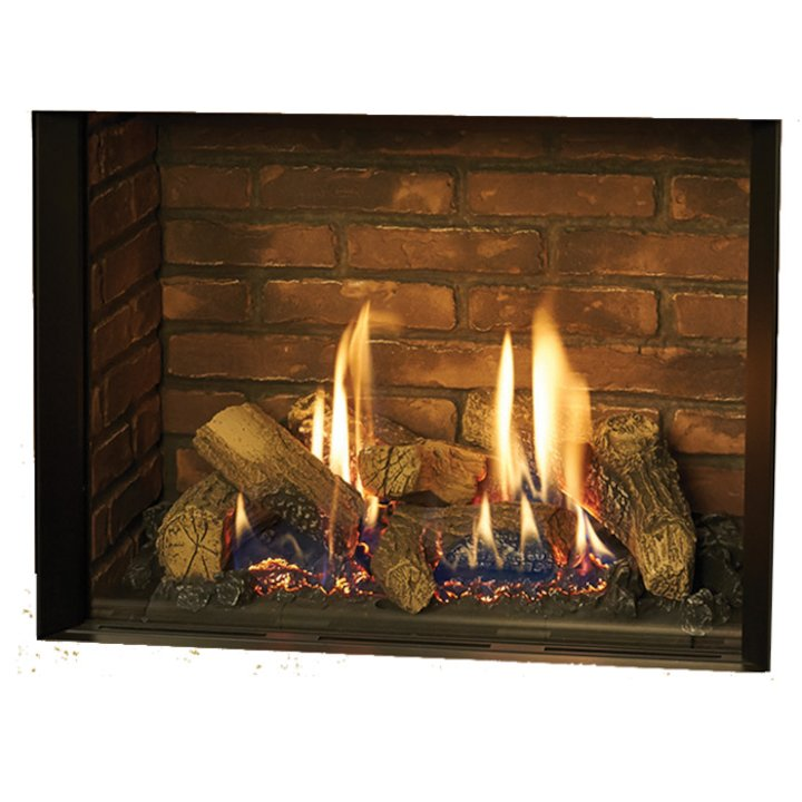 Gazco Riva2 500 Conventional Flue Gas Fire Black Brick Effect Lining - Black