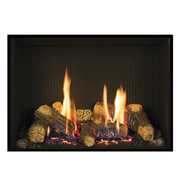 Gazco Riva2 500 Conventional Flue Gas Fire Black Black Reeded Vermiculite Lining - Black