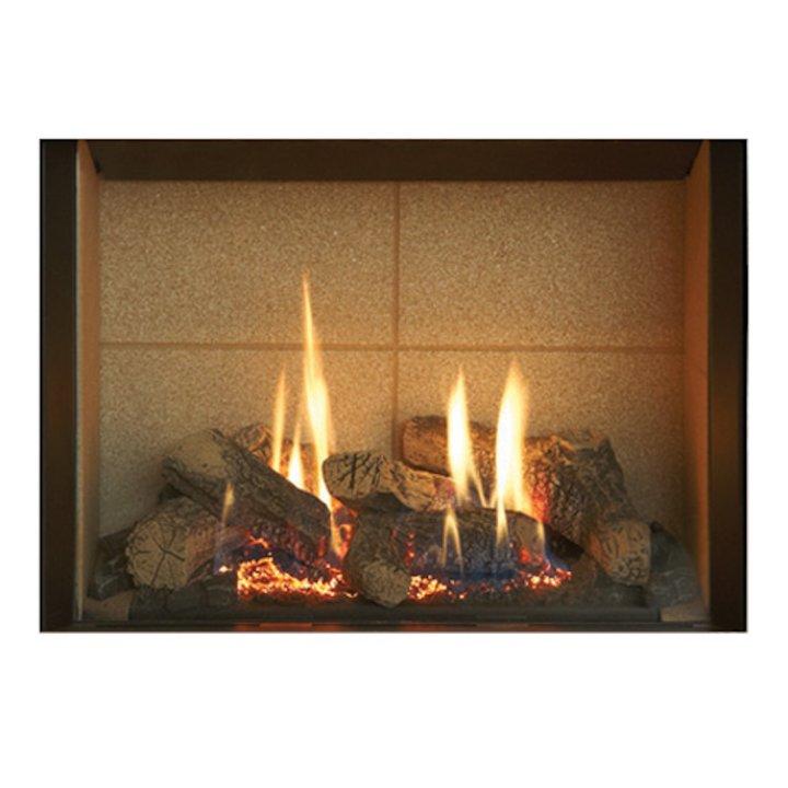 Gazco Riva2 500 Conventional Flue Gas Fire Black Beige Vermiculite Lining - Black
