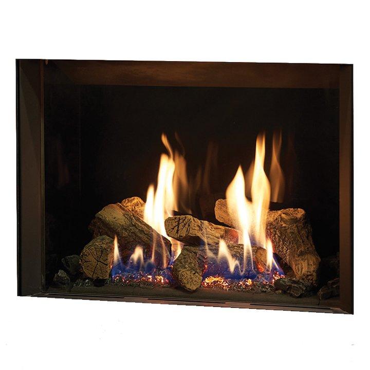 Gazco Riva2 500 Balanced Flue Gas Fire Black Black Glass Lining - Black
