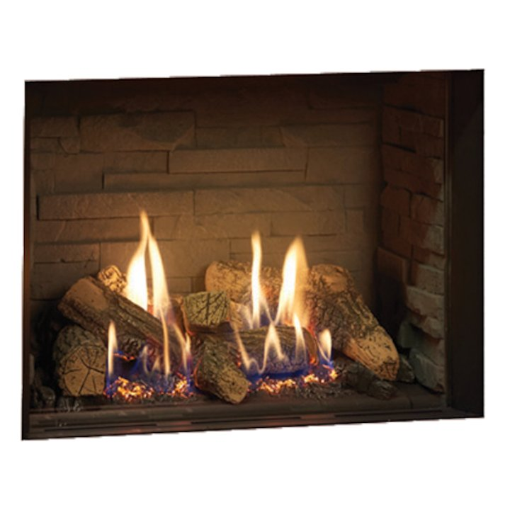 Gazco Riva2 500 Balanced Flue Gas Fire Black Ledgestone Lining - Black