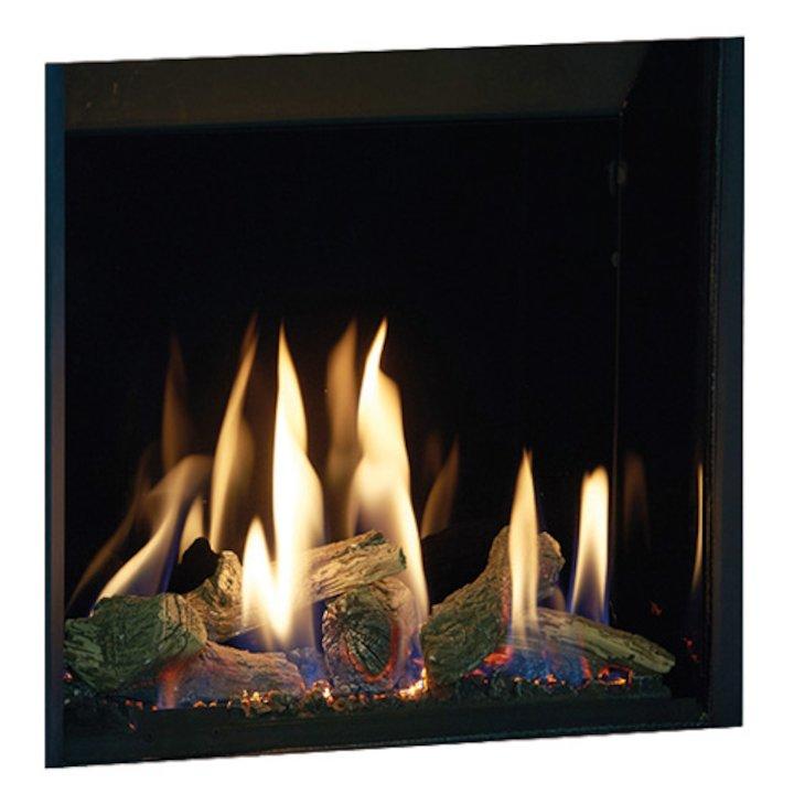 Gazco Riva2 500HL Slimline Balanced Flue Gas Fire Black Black Glass Lining - Black